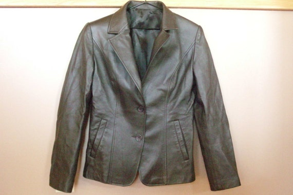 Beautiful Soft Calfskin Leather jacket...Blazer...Coat...Like New...Dark Brown