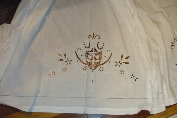 """Vintage Linen Sheet...95"""" by 97""""...Very Good Condition...Embroidery & Cutwork"""
