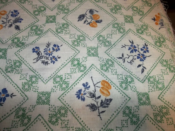 "3 Yards Vintage Cotton Feed Sack  Fabric...44"" wide...1940 ERA..."