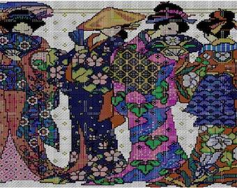 Four Geisha Japanese Cross Stitch Pattern