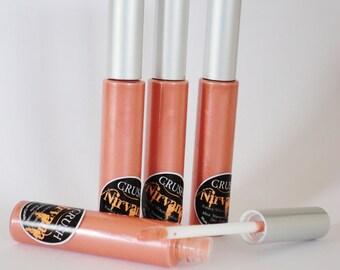 Nirvana pale orange coral Lip Gloss Makeup Mineral Vegan Coral Lip Stick Pigmented shimmer liquid lipstick thick glosssy