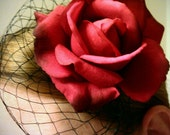 GORGEOUS extra large red rose with black birdcage veil fascinator hair clip or brooch. Great for any hot occasion.
