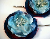 Flower Bobby Pins Flower Hair Pins Blue Hair Pins Blue Flower Hair Pins Silk Bobby Pins Bridal Hair Pins