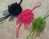3 Shabby Rosette Headbands Navy Pink Green Preppy Girl Headbands Clips or Headbands Shabby Chic by BowPosh