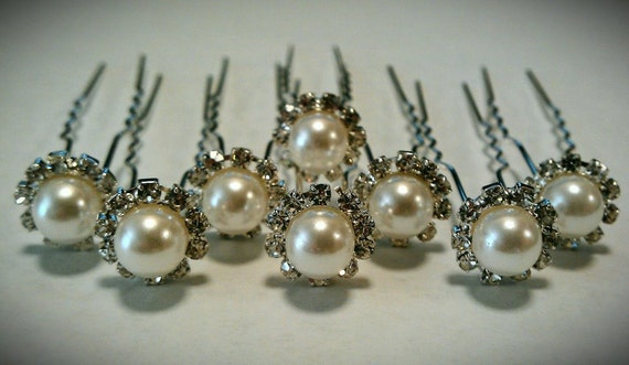 8x Sophisticated rhinestone and pearl hair pins Bridal Hair Pins Wedding Hair Pins Pearl Hair Pins Rhinestone Hair Pins