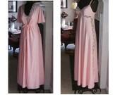 Vintage Peignoir Nightgown robe set SHADOWLINE pink  nylon S