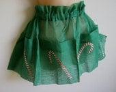 Vintage Apron Christmas Candy canes green organdy unworn