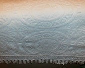 Vintage bedspread white heavy cotton medallions & fringe  96X84