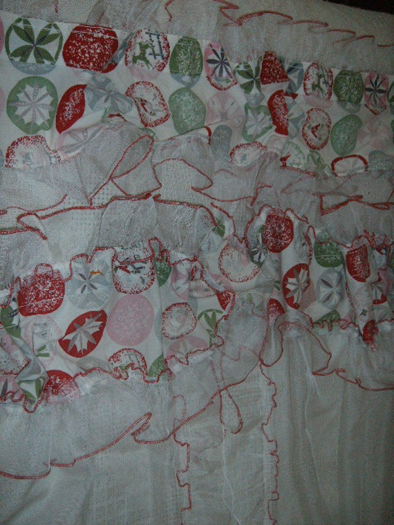 vintage cafe kitchen curtains w valance sheer w red retro print