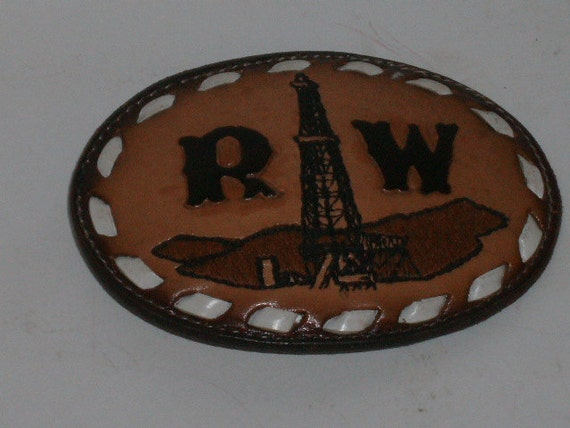 "Vintage belt Buckle Tony Lama Western Oil Rig  laced leather ""RW"""