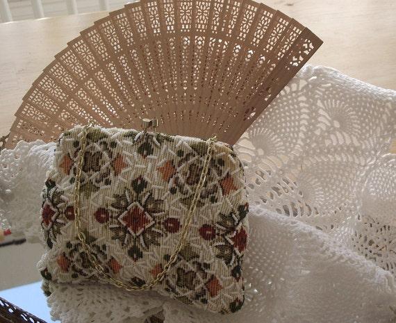 SALE- Vintage handbag beaded tapestry evening purse