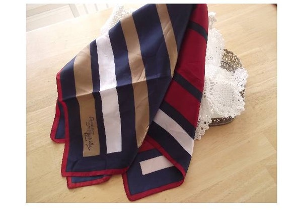 "Vintage Scarf Anne St. Michele Paris stripes 27"" square -signed SALE"