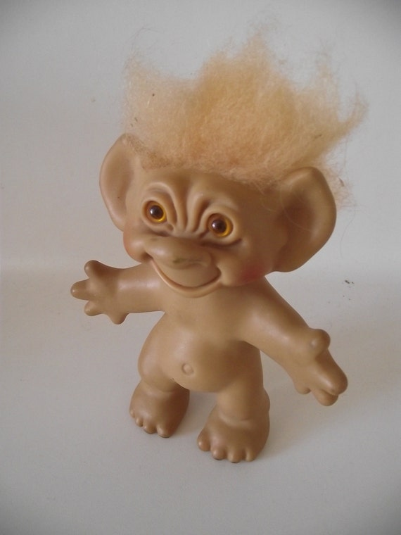 vintage wishnik dam uneeda troll doll 60s orange hair