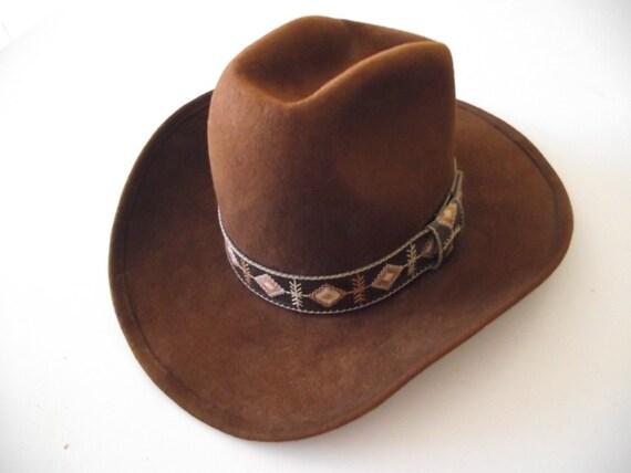 Vintage Cowboy hat western brown wool felt fancy band 7 1/8  SALE