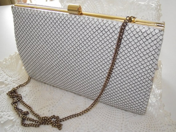 Vintage Purse handbag Whiting & Davis white metal mesh evening bag-SALE