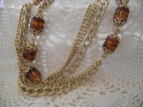"""Vintage Necklace Sara Coventry Amber beads multi gold chain 50"""" long"""