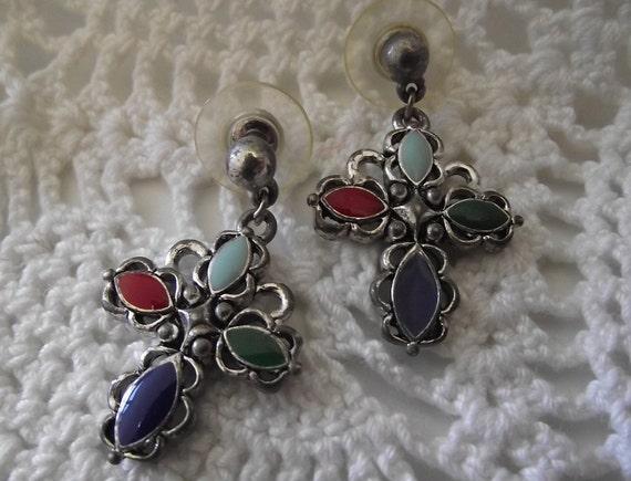 Vintage Southwestern Cross earrings silver & stones pierced