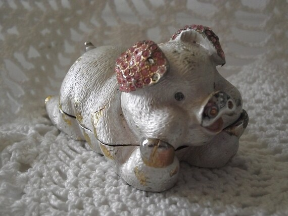 Vintage Pig Trinket box Metal pink rhinestones victorian look