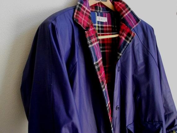 Vintage Rain Coat Talbots blue vinyl & red  plaid flannel lined L