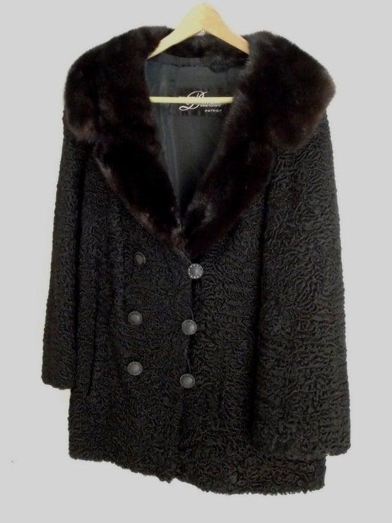 Vintage Fur Coat Persian Lamb & Mink 1970's  M L - w/ appraisal