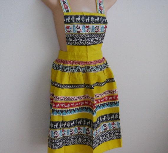 SALE Vintage Apron Pinafore Cobbler yellow southwest stripe cotton 60's handmade
