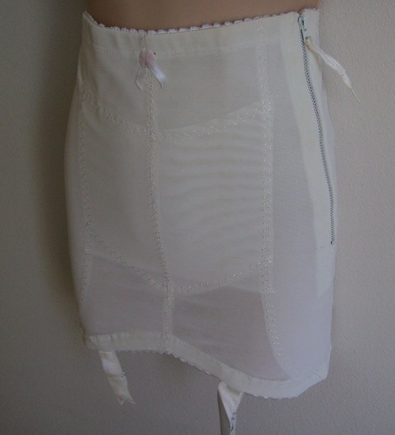 Vintage Girdle w/ garters NOS open bottom white 60's madmen M