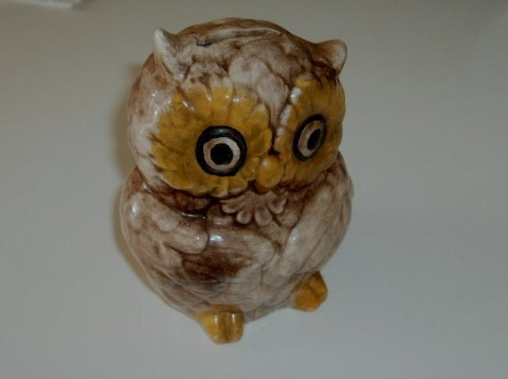 Vintage Bank Ceramic Owl hand painted bird figurine brown & gold
