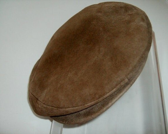Vintage Hat  Cap Men's English driving / newsboy brown leather suede
