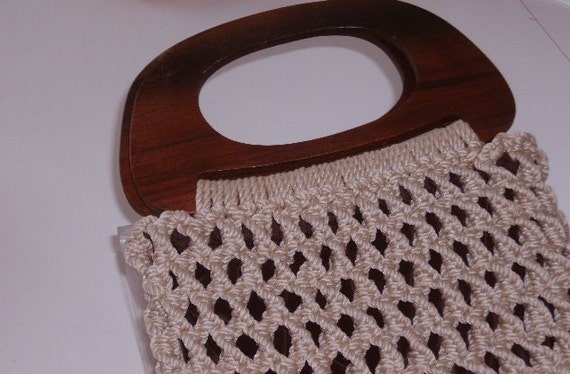 Vintage Purse handbag 70's handmade macrame Big Wood handles Boho Chic hemp