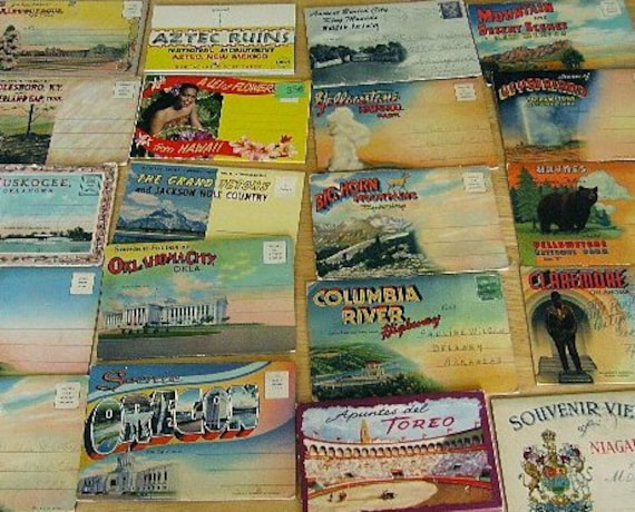 Vintage Postcard Lot 20 Folders Souvenior US cities 1940's-50's states route 66
