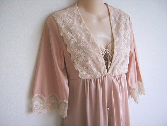Vintage Peignoir nightgown robe set blush pink Shadowline lingerie