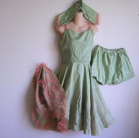 Vintage Dress Dance Costume Can Can Burlesque w/ panties & gloves