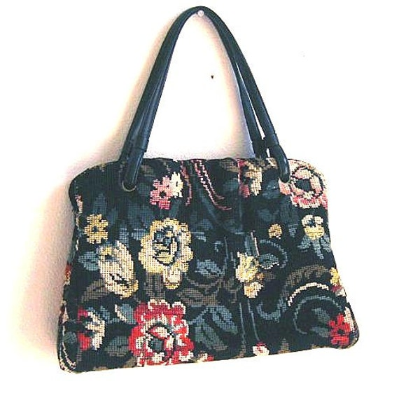 Vintage carpet bag handbag purse Tapestry needlepoint SALE