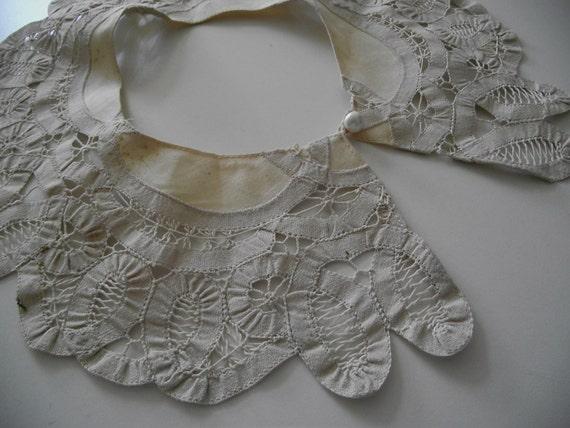 Vintage Lace Collar Ecru Victorian Battenburg & Linen
