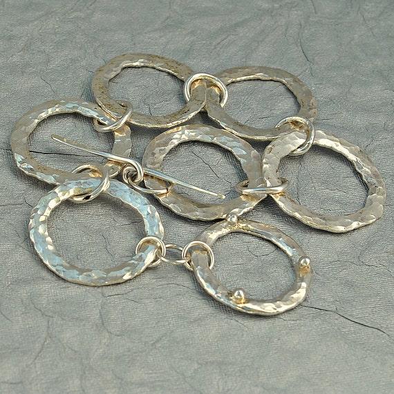 Fine Silver Chain Link Bracelet - Fine Silver Hammered Chain Link Bracelet