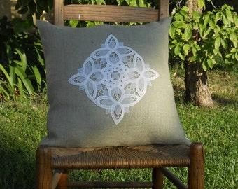 "18"" Burlap Pillow Cover in Sage Green with Battenburg Lace Applique Doily"