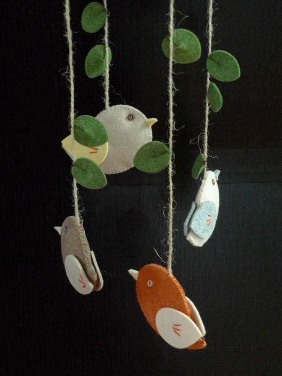 Au Natural Wee Birds Felt Mobile For Baby Half price on shipping