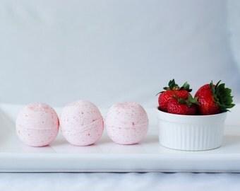 Fresh Summer Strawberry Bath Bombs