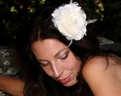Wedding  Fascinator Ivory Magnolia ,  with Feathers, ivory white silk and feather.