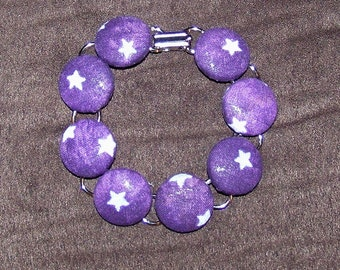 Purple Star Button Bracelet