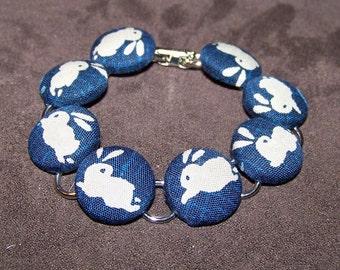 Blue Bunny Button Bracelet