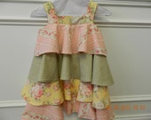 Girls four tier ruffled cotton dress or jumper, yellow rose print, green with white dots, pink rose print, lined bodice and  body