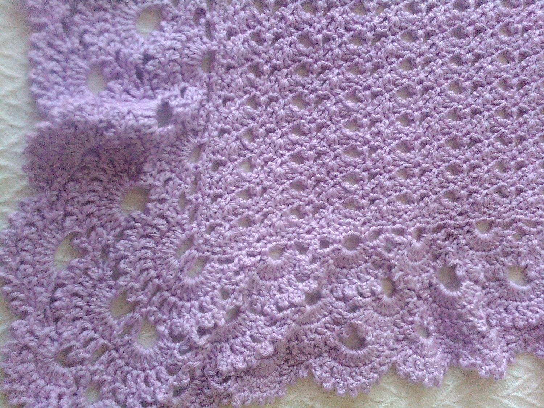Baby blanket lavender crochet beautiful shell by ...