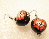 Kukui Nut Earrings, Candle Nut, Red and White Painted Hibiscus Flowers, Silver or Steel Tone