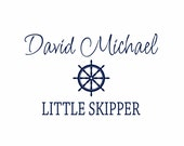 """Nautical Vinyl Wall Decal - Personalized Name Vinyl Wall Decal with Sailboat Wheel Helm for Boy Baby Nursery Room 22""""H x 36""""W Wall Art FS138"""