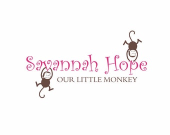 Monkey Vinyl Wall Decal - Personalized Name Wall Decal Jungle Baby Nursery Wall Quote Girl Boy Room Monkeys Wall Art  22H x 36W FS066