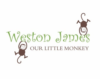 Monkey Vinyl Wall Decal - Our Little Monkey Wall Quote Personalized Name Monkey Girl Boy Baby Nursery Wall Art  22H x 36W FS066