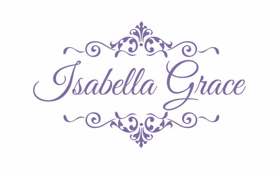"""Personalized Baby Nursery Name Vinyl Wall Decal Elegant Shabby Chic Frame Wall Decal Girl Baby Room Girl Bedroom Wall Art 22""""H x 36""""W"""