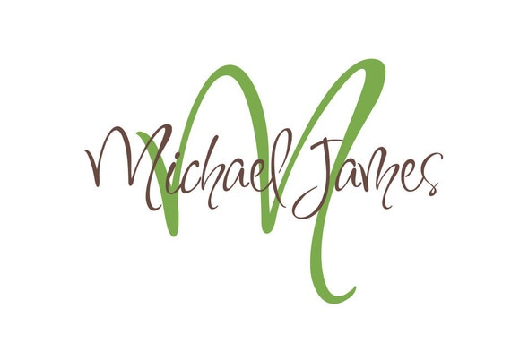 """Name and Initial Vinyl Wall Decals Monogram Wall Decal Personalized Boy Girl Baby Nursery Name Wall Decal Bedroom Wall Art 22""""H x 36""""W"""