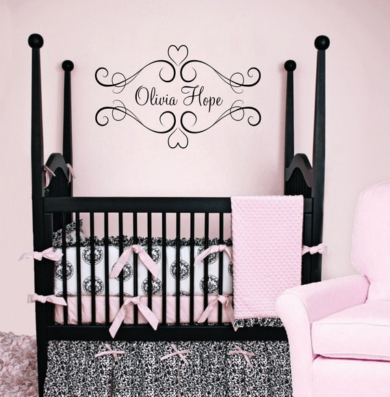 Heart Vinyl Wall Decal - Baby Nursery Name Wall Decal Shabby Chic Frame for Girl Room  22Hx37W FS014